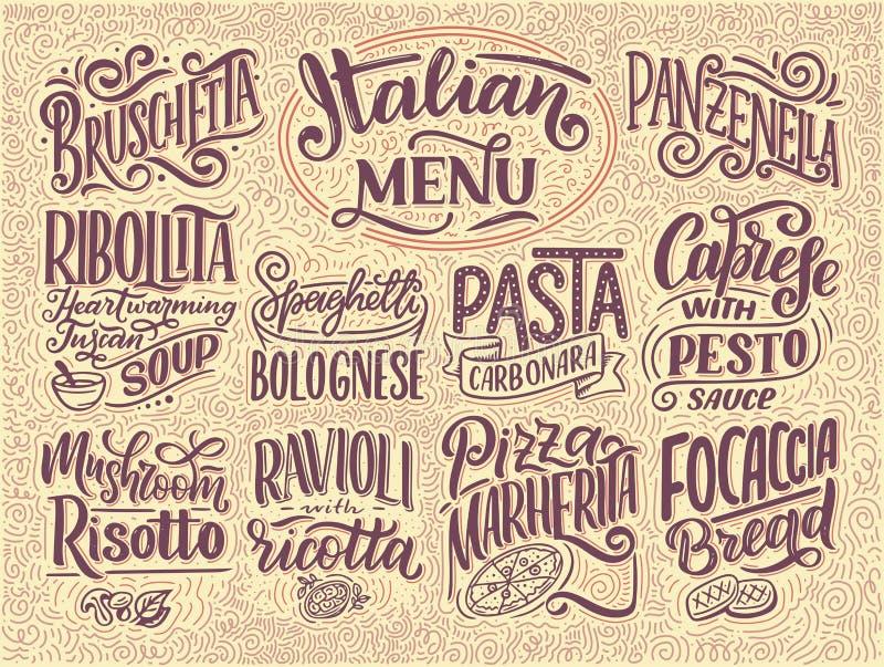 Итальянское меню еды - имена блюд Помечающ буквами, стилизованный чертеж также вектор иллюстрации притяжки corel Предпосылка для  иллюстрация штока