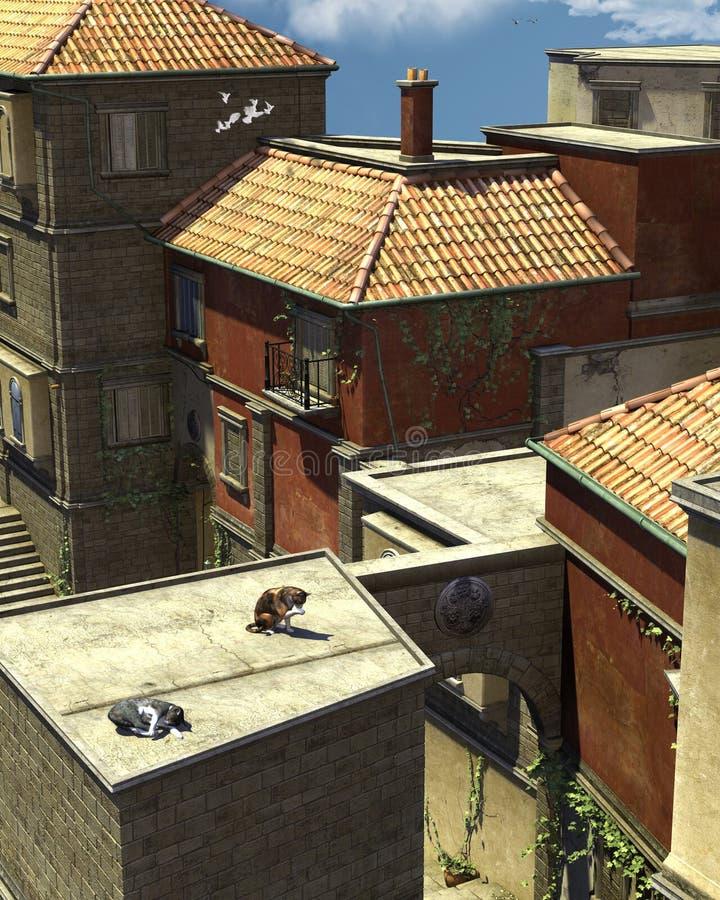 итальянское место крыши иллюстрация штока
