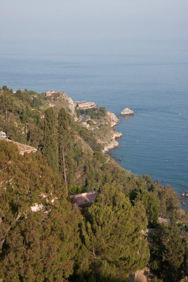 Италия Сицилия Taormina - панорама стоковое фото