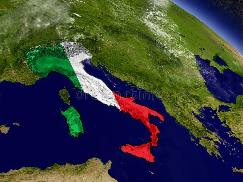 Download Италия с врезанным флагом на земле Иллюстрация штока - иллюстрации насчитывающей зона, планета: 81802108