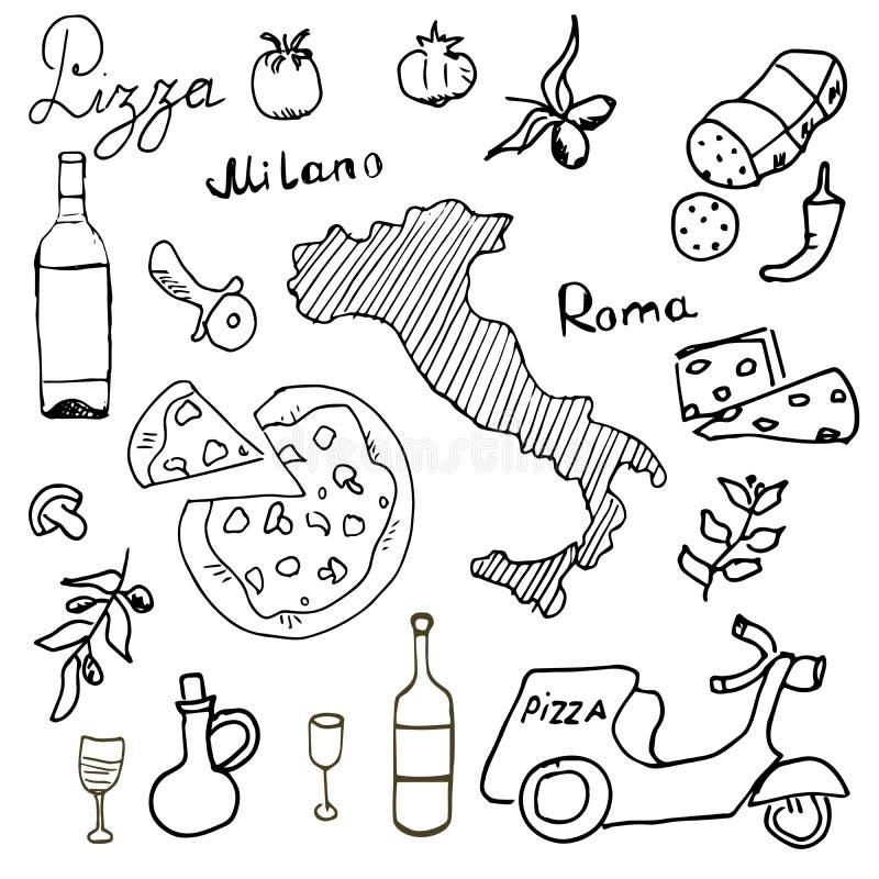 Италия doodles элементы Комплект нарисованный рукой с самокатом, вином, сыром и картой пиццы Рисуя собрание doodle, изолированное иллюстрация вектора