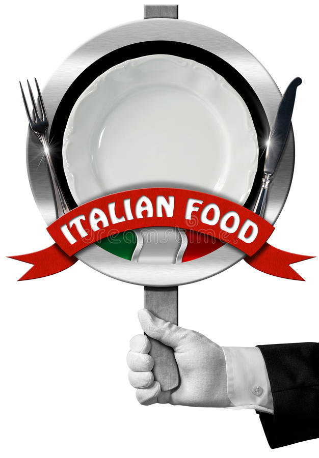 Итальянская еда - знак с рукой шеф-повара иллюстрация штока