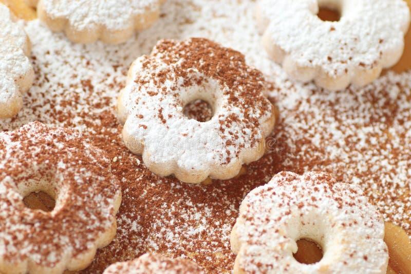 Итальянские печенья canestrelli как с напудренным сахаром, так и с силой какао стоковое изображение rf