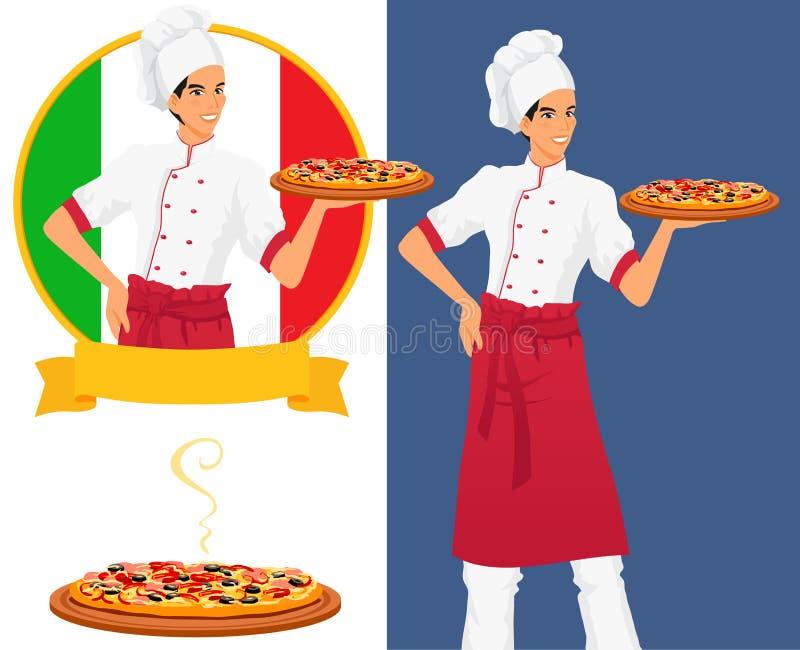 Итальянский вкусный шеф-повар пиццы и человека бесплатная иллюстрация