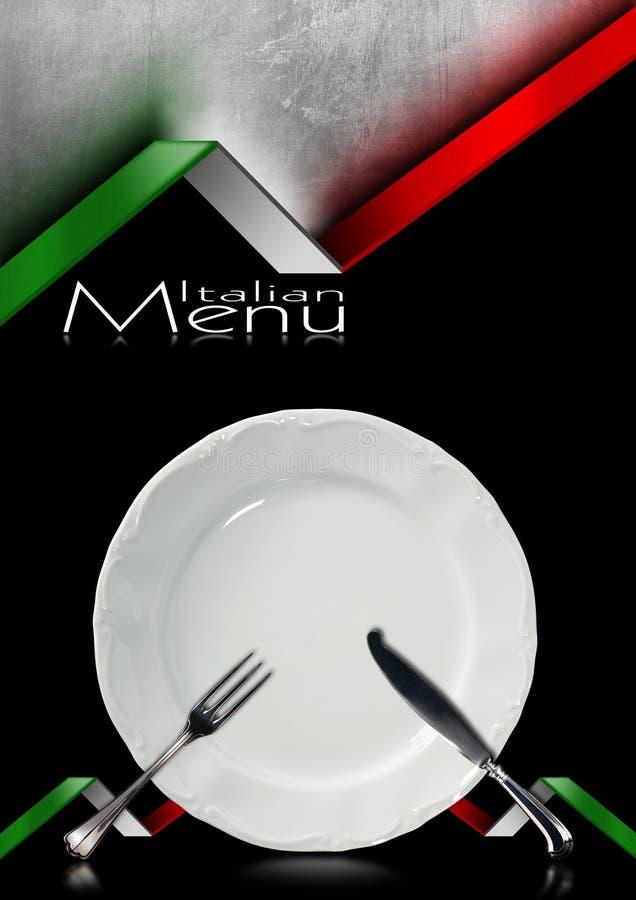 Итальянский дизайн меню ресторана иллюстрация штока
