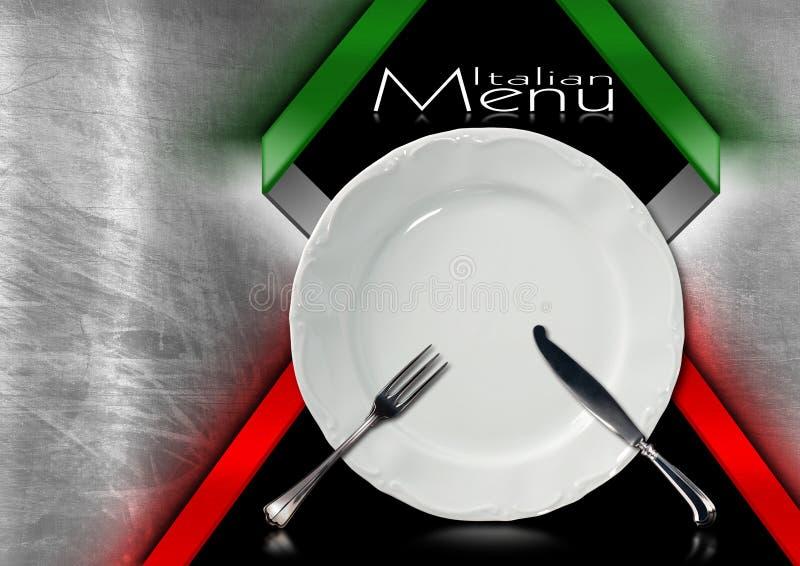 Итальянский дизайн меню ресторана иллюстрация вектора
