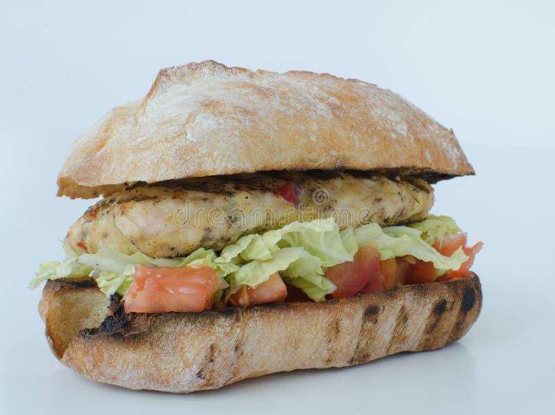 Итальянский изолированный бургер цыпленка стоковое изображение