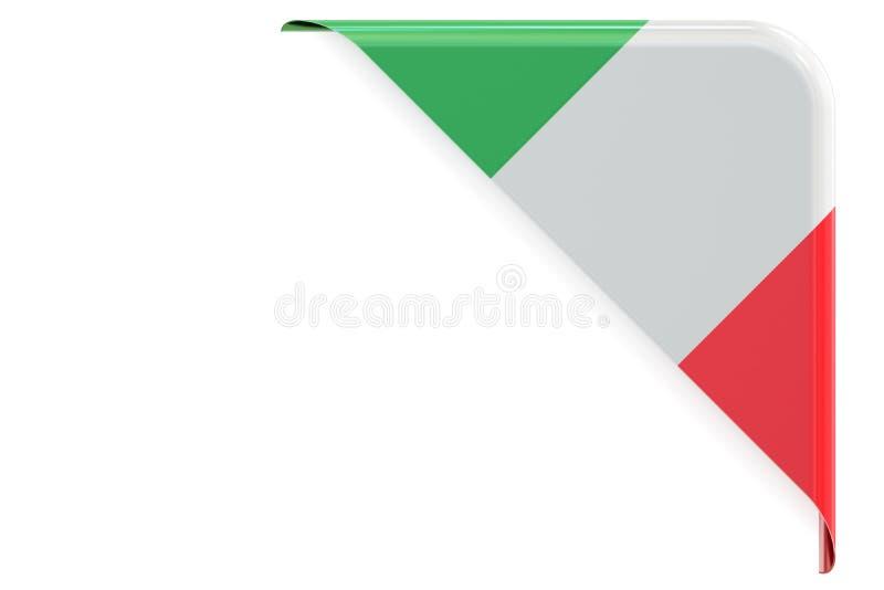 Итальянский угол флага, кнопка, ярлык перевод 3d иллюстрация штока