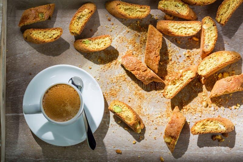 Итальянское cantucci с кофе стоковое изображение rf