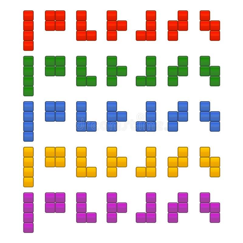 Итог частей кирпичей Tetris установленный для игры вектор иллюстрация вектора