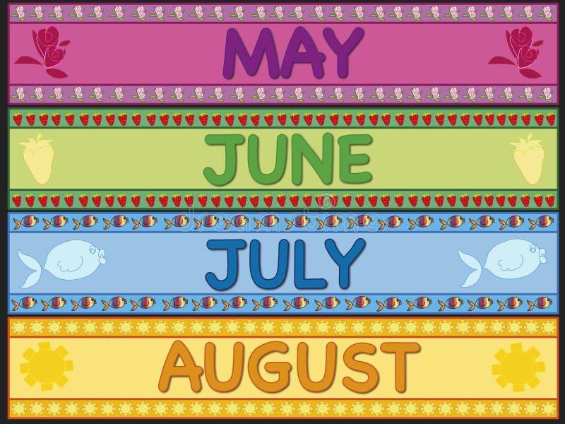 Июль -го июнь -го май августовский иллюстрация вектора