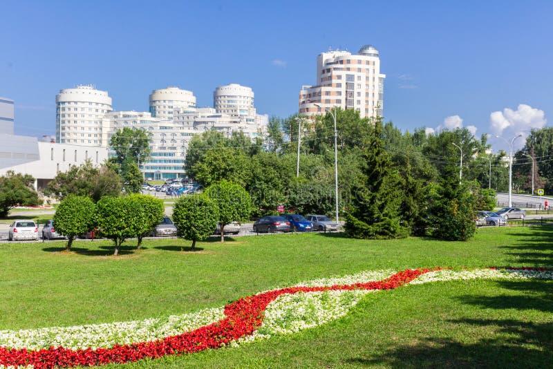Июль 2016 Панорама города Екатеринбурга Взгляд от улицы Dzerzhinsky стоковая фотография rf