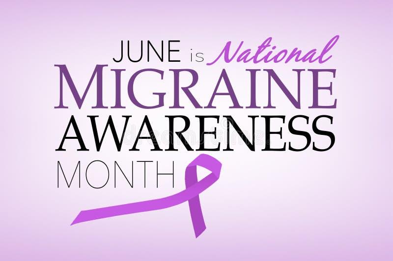 Июнь национальный месяц осведомленности мигрени иллюстрация штока