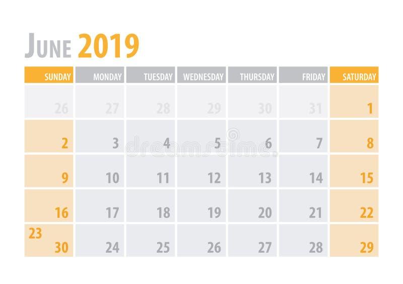 июнь Плановик 2019 календаря в стиле чистой минимальной таблицы простом также вектор иллюстрации притяжки corel бесплатная иллюстрация