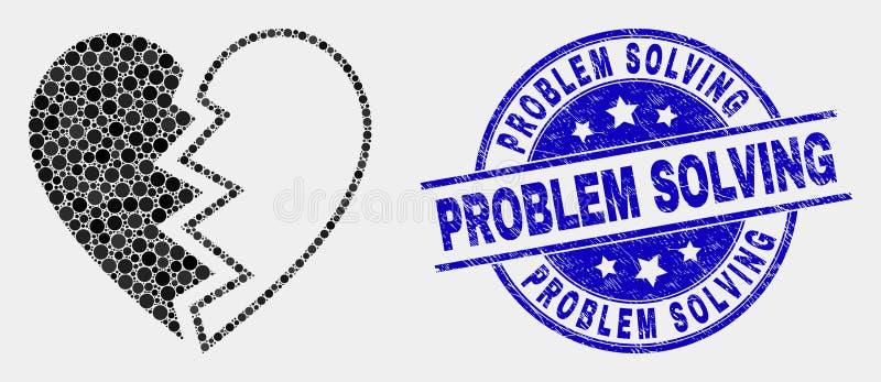 И водяной знак решения проблем дистресса поставленные точки вектором значок разбитого сердца иллюстрация штока