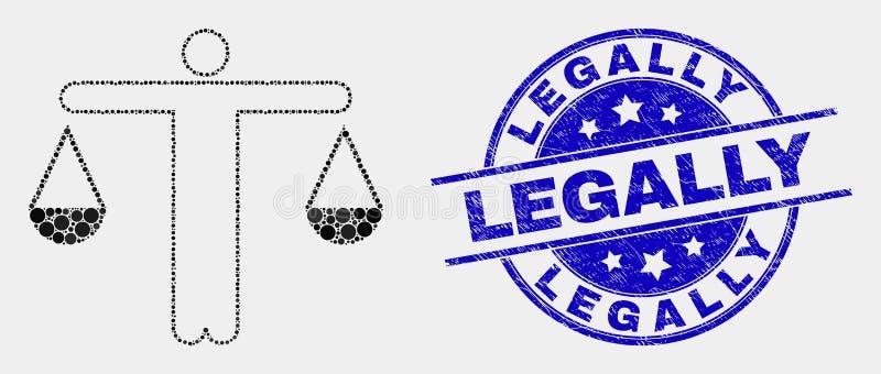 И водяной знак Grunge законно поставленные точки вектором значок судьи иллюстрация вектора