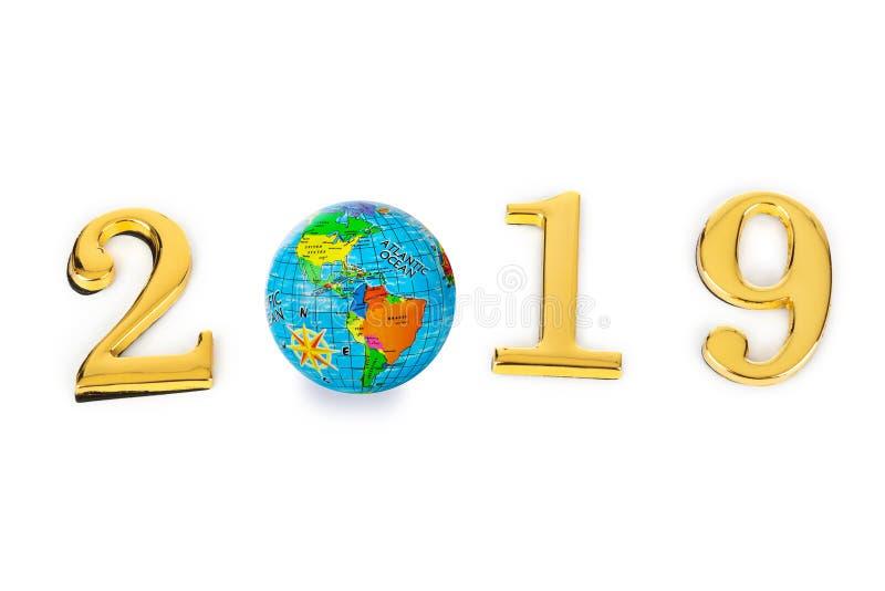 2019 и глобус стоковая фотография