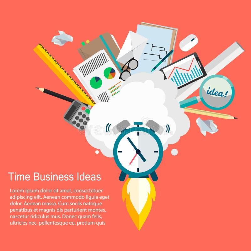 Идеи дела времени Vector иллюстрация дизайна дела и контроля времени плоского бесплатная иллюстрация