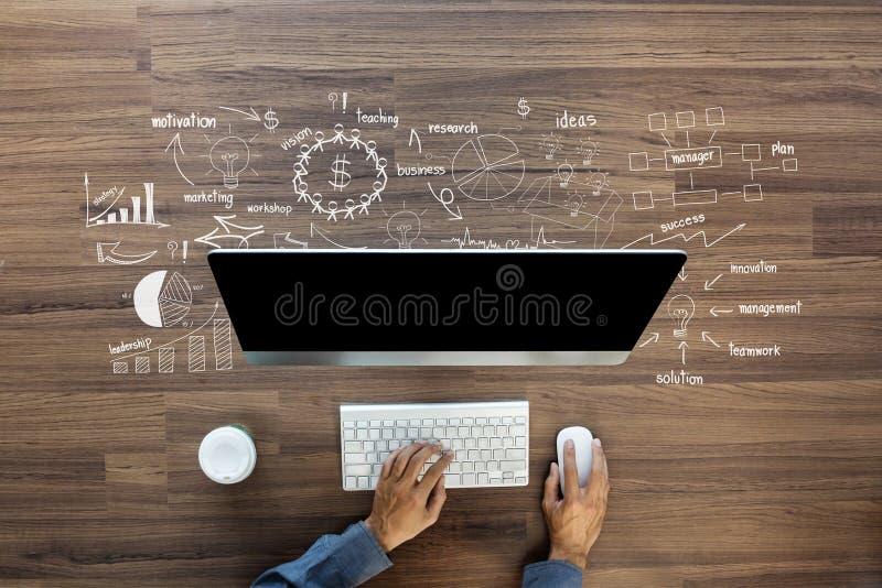 Идеи плана стратегии успеха в бизнесе чертежа творческий думать иллюстрация вектора