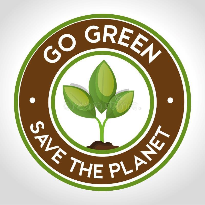 идет зеленое спасение эмблемы планетой иллюстрация вектора
