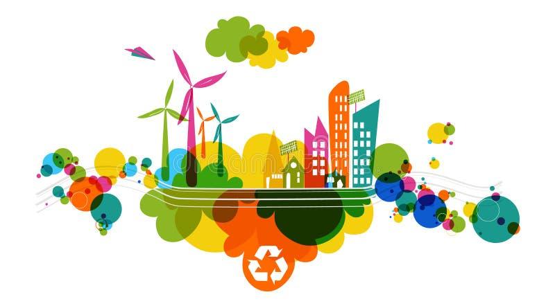 Идет зеленый прозрачный цветастый город. иллюстрация вектора
