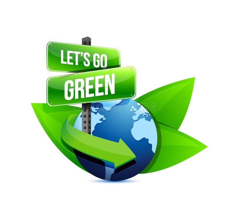 Идет зеленый цвет, зарывает помощь глобуса с знаками и листьями. иллюстрация штока