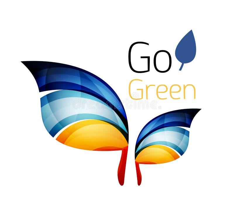 идет зеленый цвет рециркулирует Концепция природы лист иллюстрация вектора
