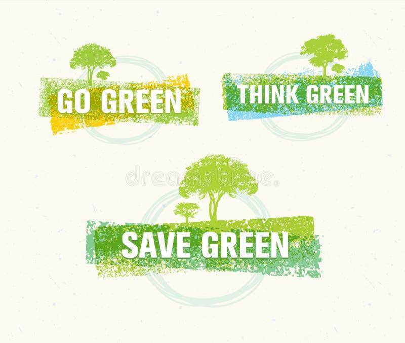 Идет зеленый цвет рециркулирует уменьшает концепцию плаката Eco повторного пользования Иллюстрация вектора творческая органическа иллюстрация штока