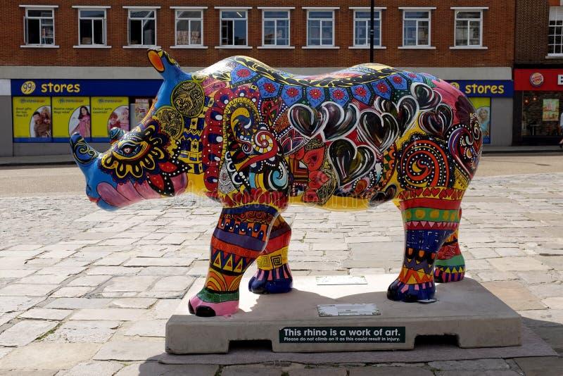 Идет носорог 2 стоковые изображения rf