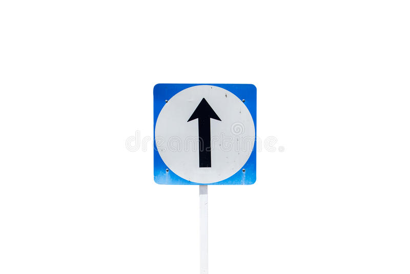 Идет прямой знак уличного движения направления изолированный на белой предпосылке, стоковая фотография