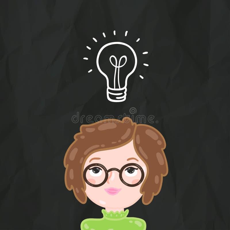Идея девушки милого шаржа умная и лампы шарика бесплатная иллюстрация