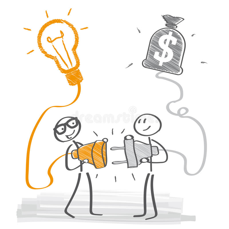 Идея дела и иллюстрация инвестора иллюстрация вектора