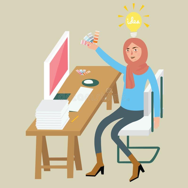 Идея женского график-дизайнера женщины творческая на стуле таблицы стола вуали отборного сочетания цветов компьютера нося сидя бесплатная иллюстрация