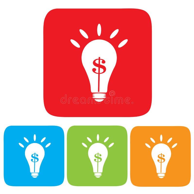Идея зарабатывая деньги, электрическая лампочка с символом доллара иллюстрация штока