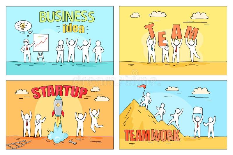 Идея и сыгранность дела на Startup иллюстрации иллюстрация штока