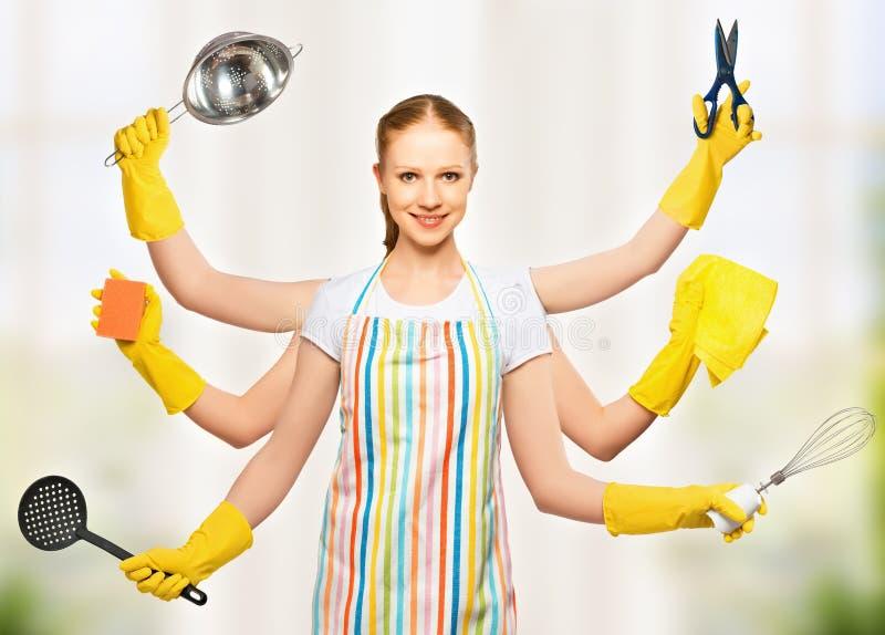 Идея принципиальной схемы. всемогущая всеобщая домохозяйка женщины с много Хан стоковое изображение rf