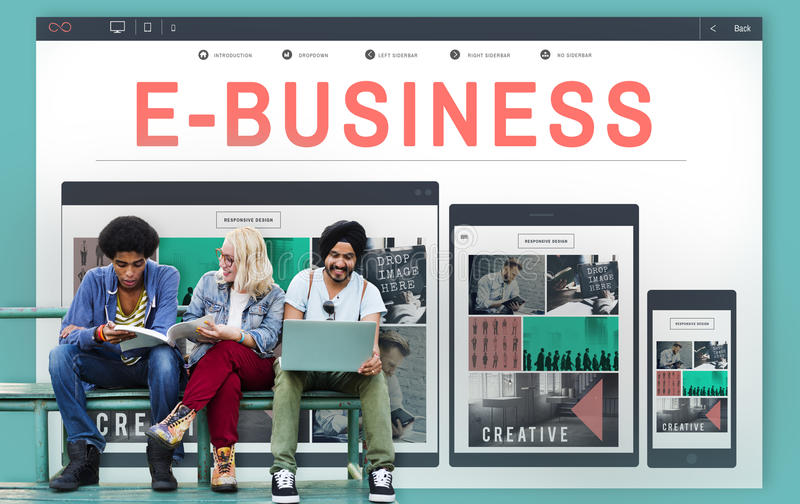 идея проекта дела электронной коммерции E-дела отзывчивая стоковая фотография
