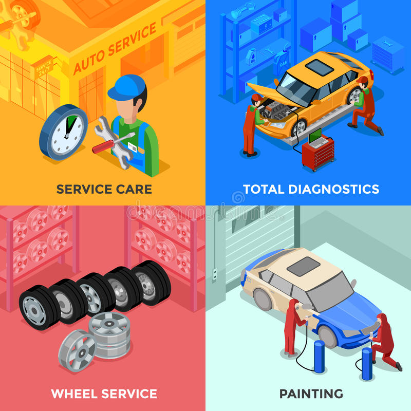 Идея проекта 2x2 обслуживания автомобиля равновеликая бесплатная иллюстрация