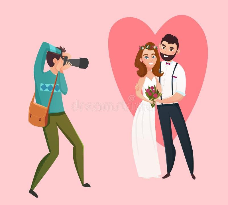 Идея проекта фотографа свадьбы иллюстрация вектора