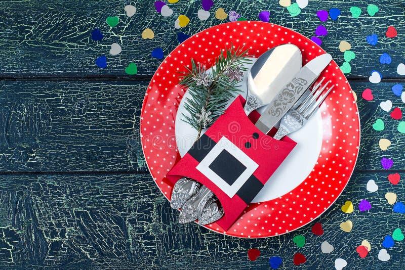 Идея украшения рождества для сервировки стола в fo стоковая фотография