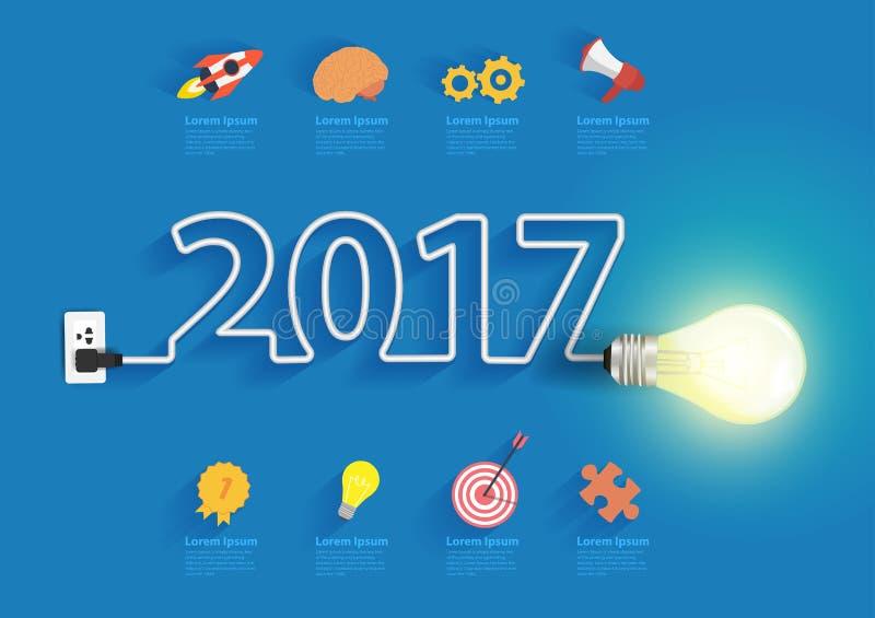 Идея электрической лампочки вектора с дизайном 2017 Новых Годов иллюстрация вектора