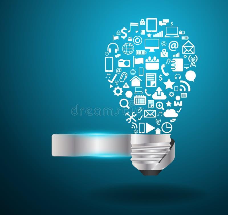 Идея электрической лампочки вектора с социальным applicati средств массовой информации иллюстрация штока