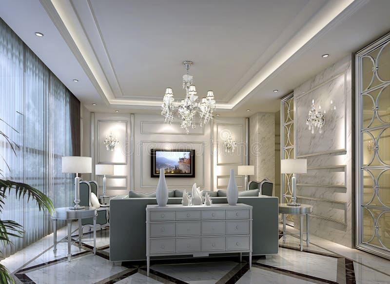 И живой стиль гостиной в Шанхае, высокосортных квартирах стоковое фото rf