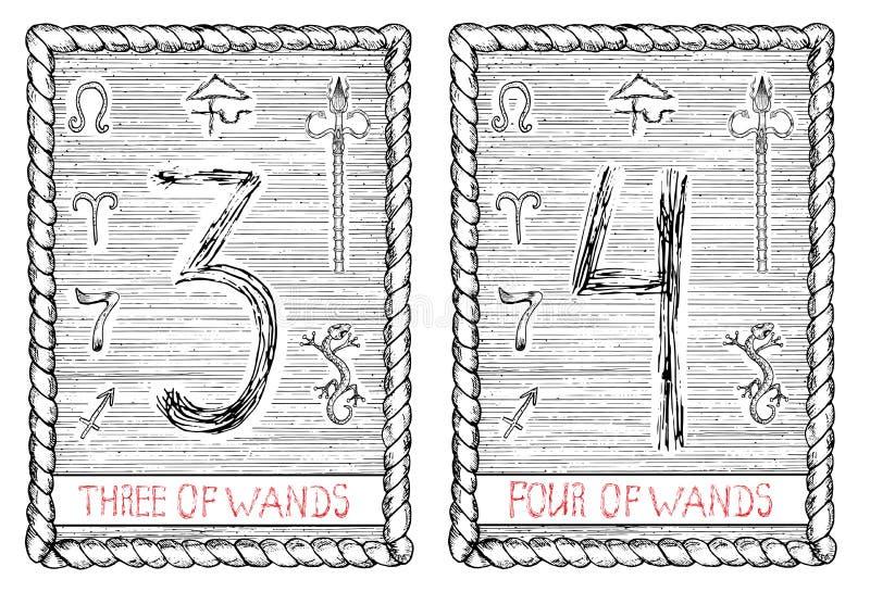 3 и 4 из палочек Карточка tarot иллюстрация штока
