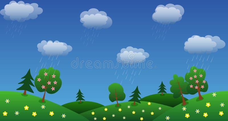 Идите дождь предпосылка неба с зеленой травой и цветками иллюстрация вектора