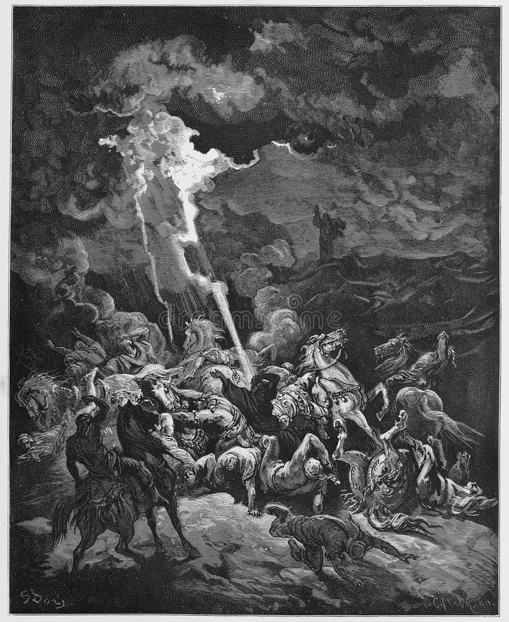 Илия разрушает посыльных Ahaziah иллюстрация вектора