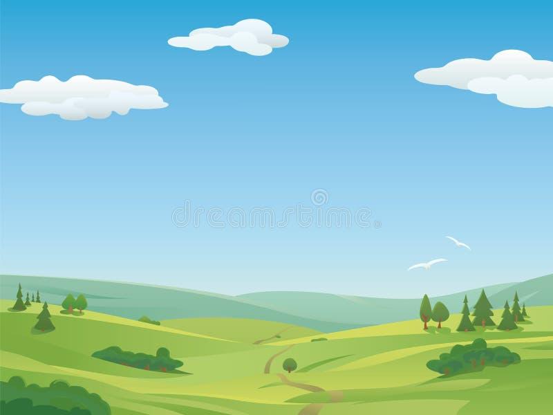 Идилличная иллюстрация ландшафта иллюстрация штока