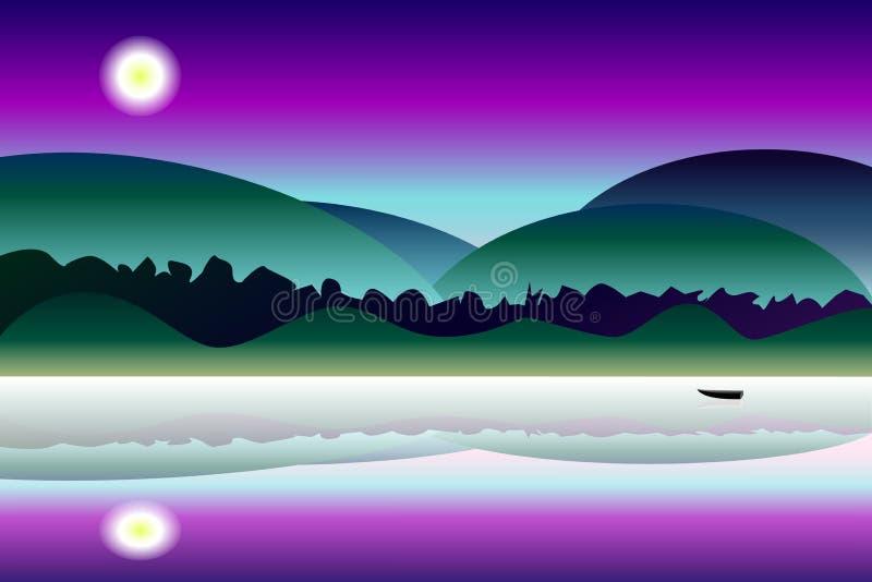 Идилличная предпосылка ландшафта ночи тайны иллюстрация штока