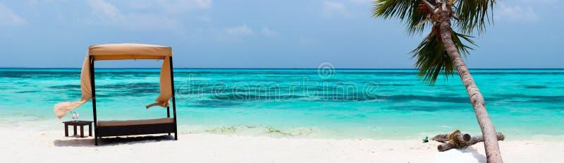 Идилличный тропический пляж на Мальдивах стоковая фотография rf