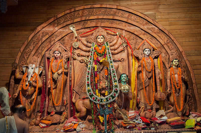 Идол Durga богини, фестиваль Puja, Kolkata, Индия стоковое изображение rf